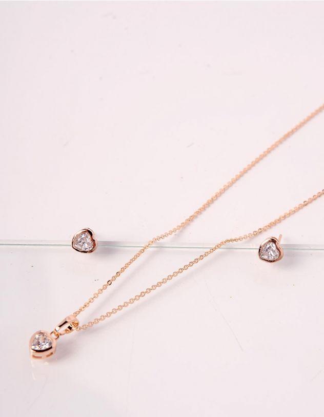 Комплект із підвіски та сережок у вигляді сердець | 238751-08-XX - A-SHOP