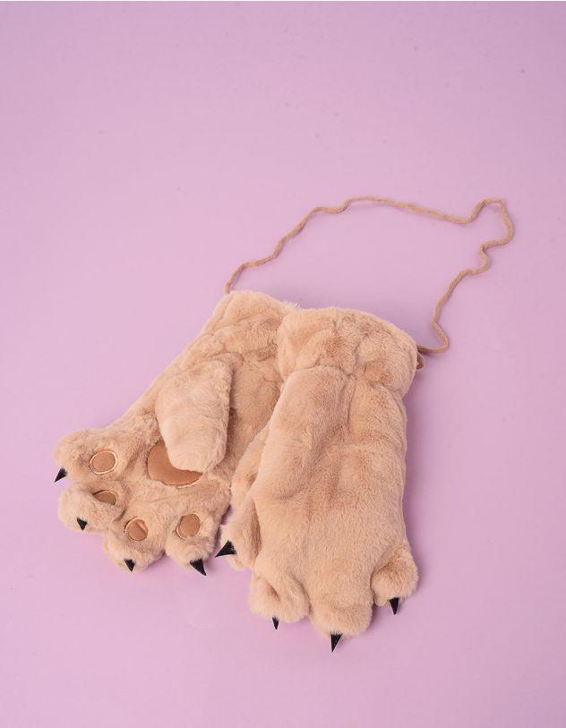 Рукавиці на резинці хутряні у вигляді лапок | 248255-22-XX - A-SHOP