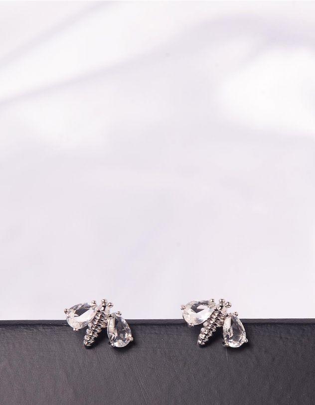 Сережки пусети у вигляді комахи зі стразами | 246866-06-XX - A-SHOP
