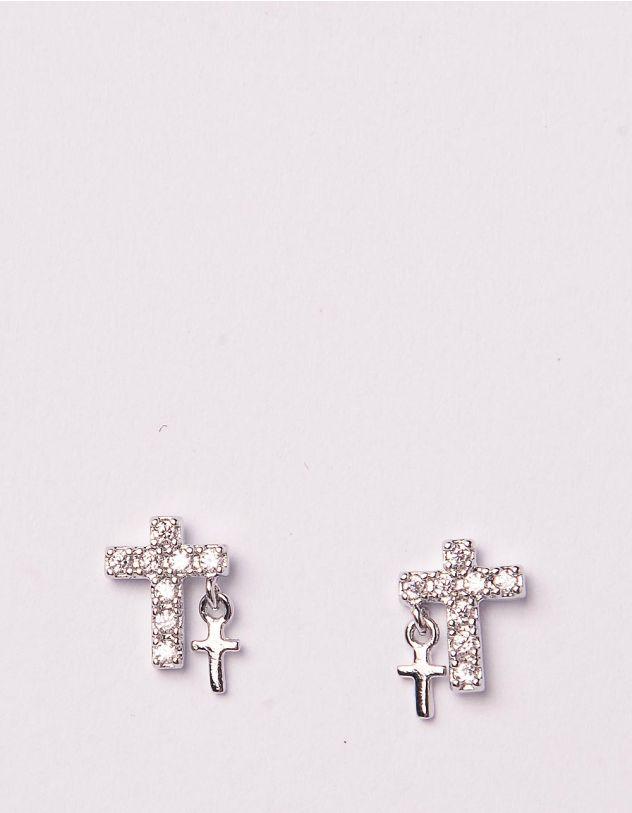 Сережки пусети з хрестиками | 245014-06-XX - A-SHOP