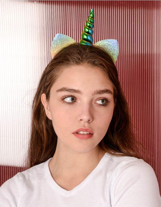 Обідок для волосся у вигляді єдинорога зі смугастими вушками   238775-51-XX - A-SHOP