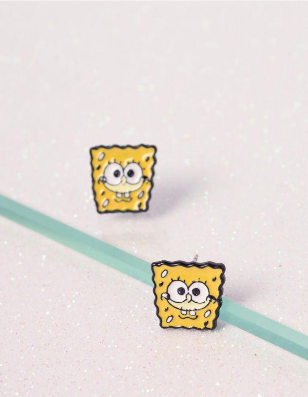 Сережки пусети із зображенням спанч боба | 240790-19-XX - A-SHOP