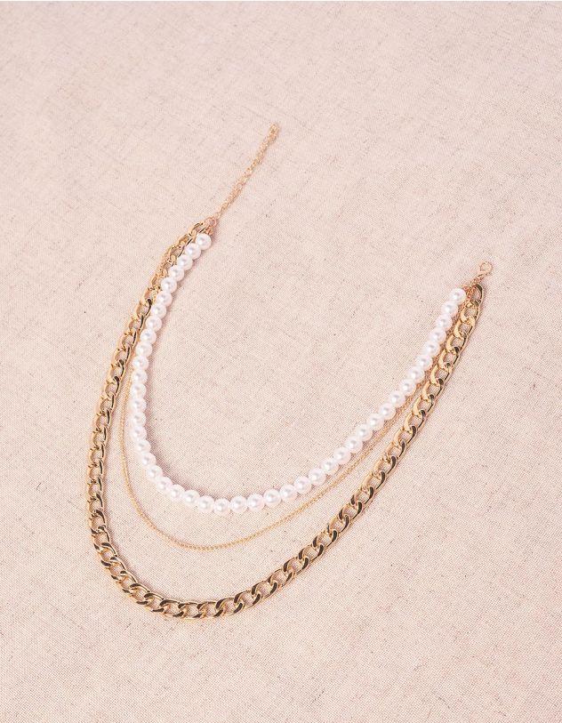 Намисто багатошарове з ланцюжків та перлин | 243073-08-XX - A-SHOP