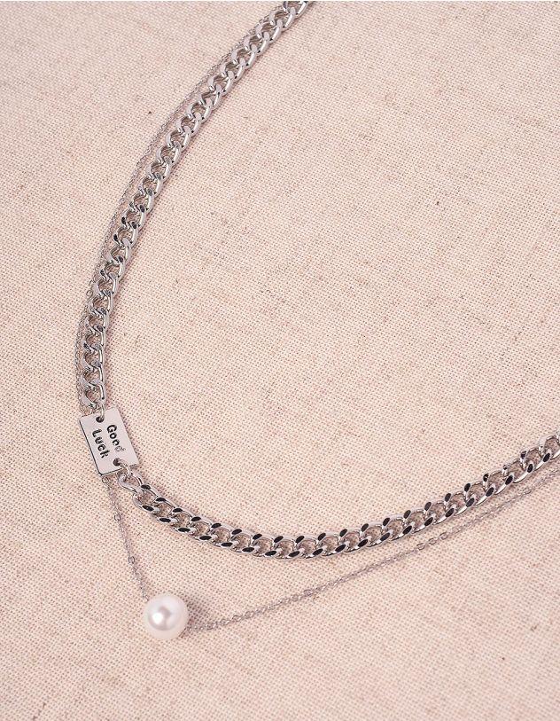Підвіска на шию із ланцюжків з перлиною | 247005-06-XX - A-SHOP