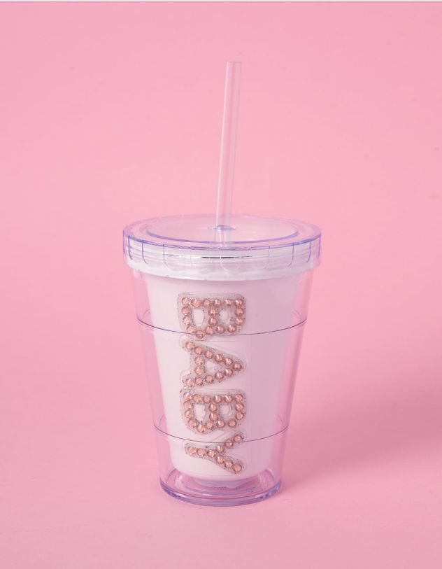 Склянка з трубочкою та написом зі стразів | 240704-01-XX - A-SHOP