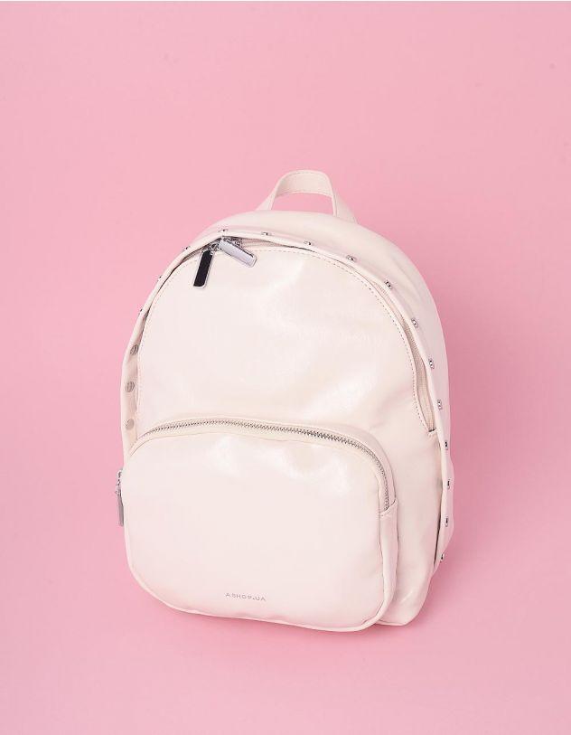 Рюкзак декорований кльопками з кишенею на блискавці | 245750-01-XX - A-SHOP