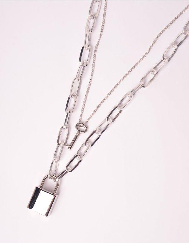 Підвіска на шию із ланцюжків  багатошарова з замком та ключем | 246193-05-XX - A-SHOP