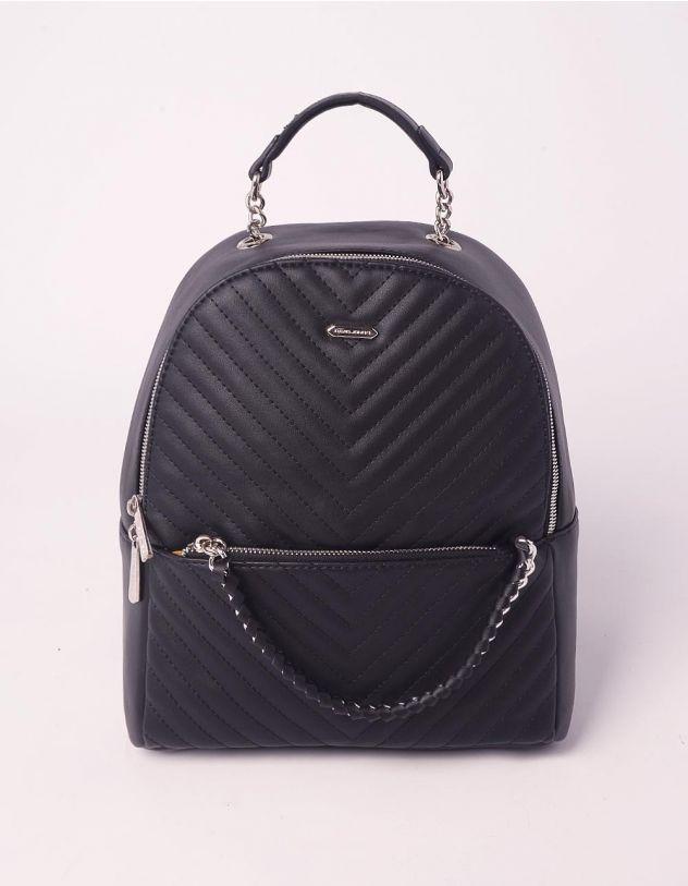 Рюкзак на блискавці з прострочкою та ланцюжком на кишені | 239529-02-XX - A-SHOP