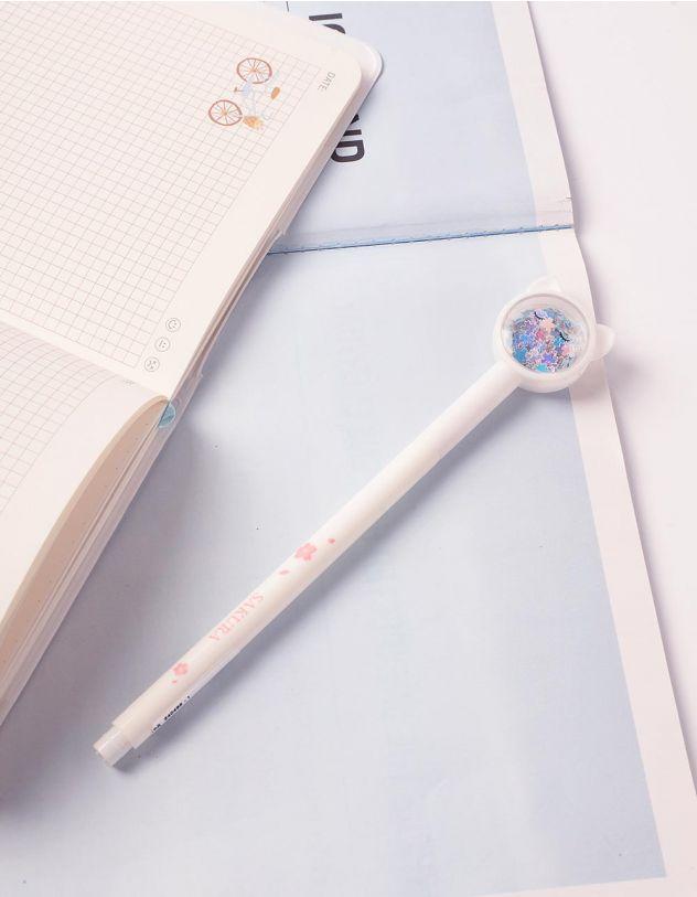 Ручка з ковпачком у вигляді кицьки з блискітками | 240495-01-XX