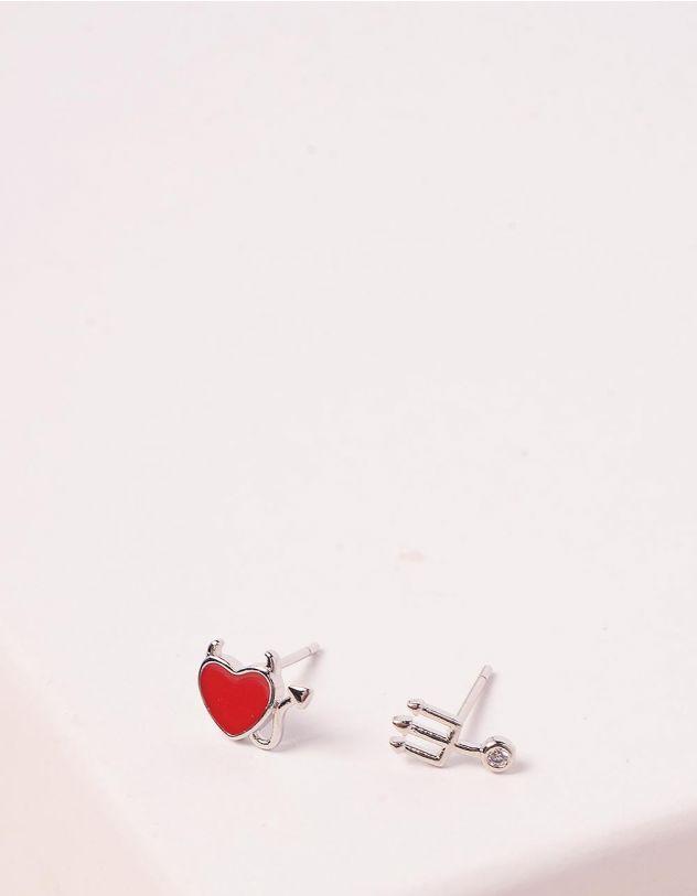 Сережки пусети з серцем   245410-60-XX - A-SHOP