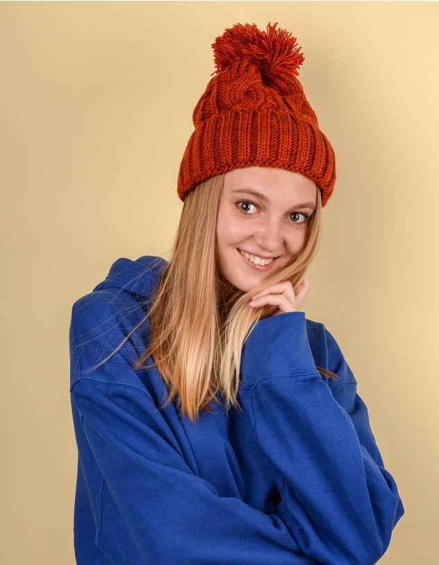 Шапка з бубоном та плетеними косами | 220239-43-XX - A-SHOP