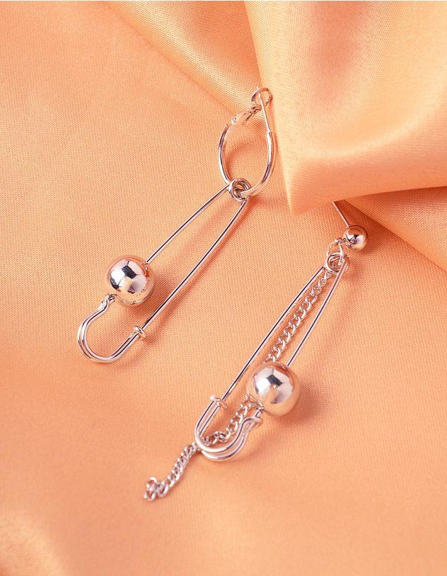 Сережки кільця довгі у вигляді булавок з кульками | 242121-05-XX - A-SHOP