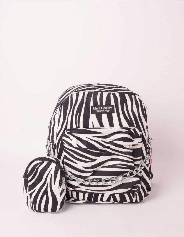 Рюкзак з принтом тварини з монетницею на ланцюжку | 248982-02-XX - A-SHOP