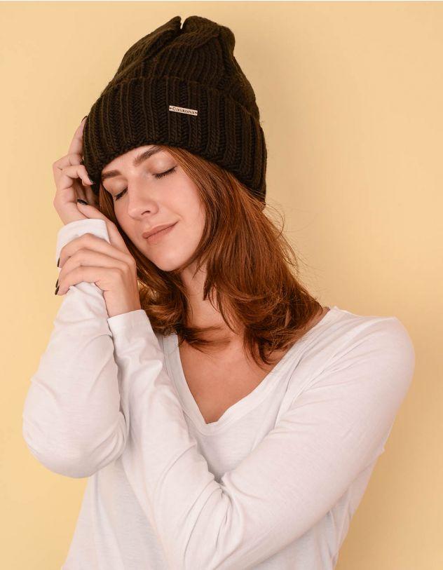 Шапка шкарпетка з відворотом та візерунком косою | 236900-02-XX - A-SHOP