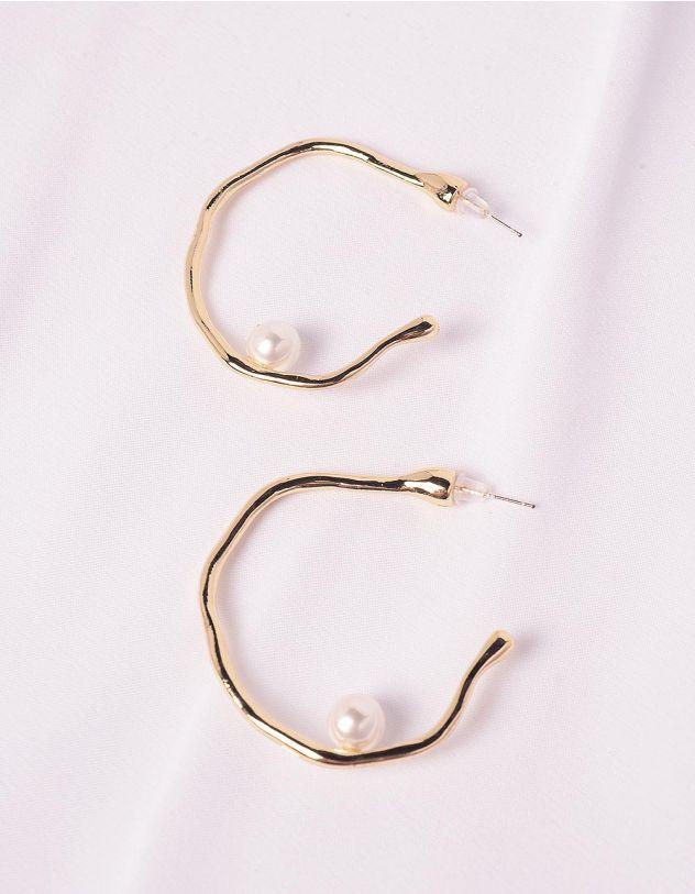Сережки кільця з перлинами   249739-08-XX - A-SHOP