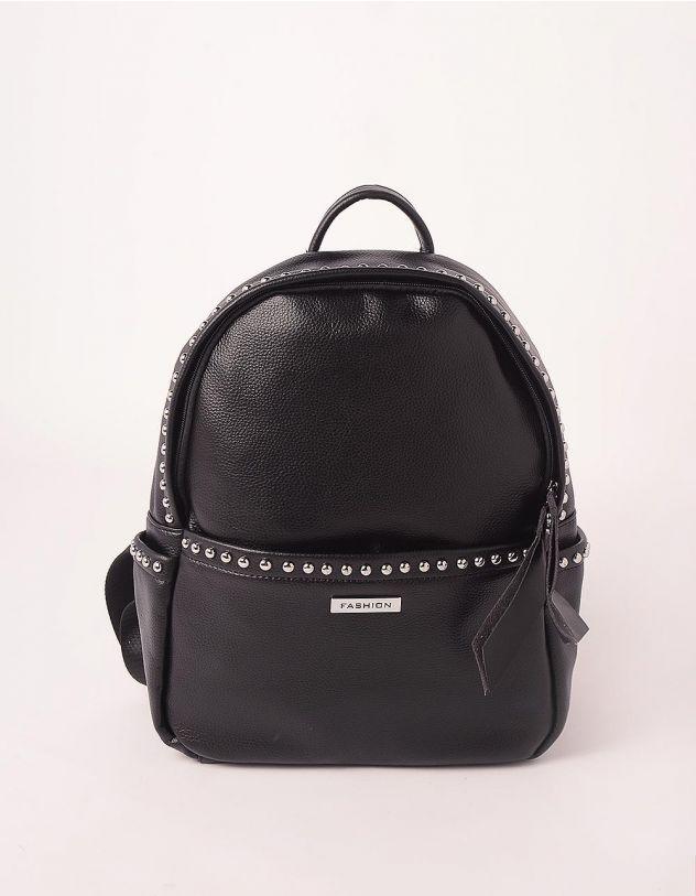 Рюкзак на блискавці з кльопками на кишенях | 248142-02-XX - A-SHOP