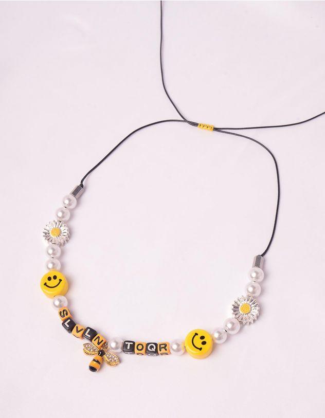 Підвіска на шию із перлин  з бджілкою та смайликами | 247900-21-XX - A-SHOP