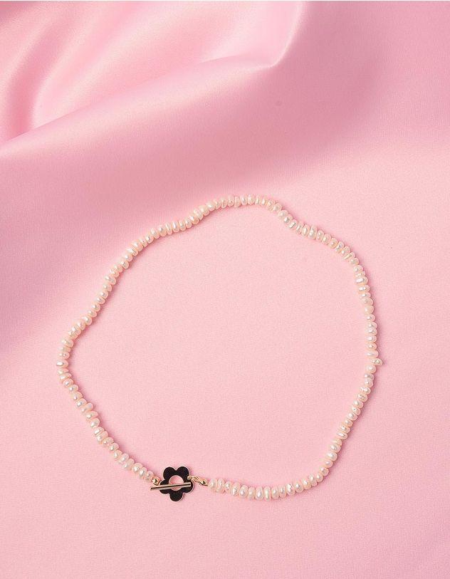 Підвіска на шию із перлин з квіткою | 247747-08-XX - A-SHOP