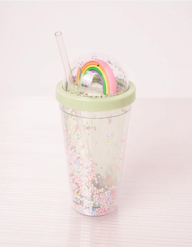 Склянка на 550мл з веселкою на кришці та кульками | 243678-37-XX - A-SHOP