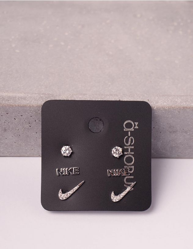 Сережки пусети у наборі з написом | 246122-06-XX - A-SHOP