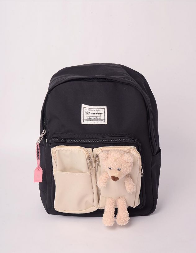 Рюкзак молодіжний з ведмедиком на кишені | 243058-02-XX - A-SHOP
