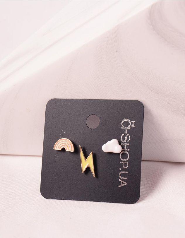 Сережки пусети у вигляді веселки та блискавки   246199-21-XX - A-SHOP