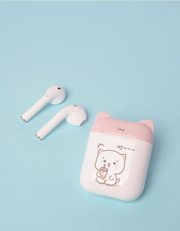 Навушники бездротові з принтом котика на чохлі   248705-14-XX - A-SHOP