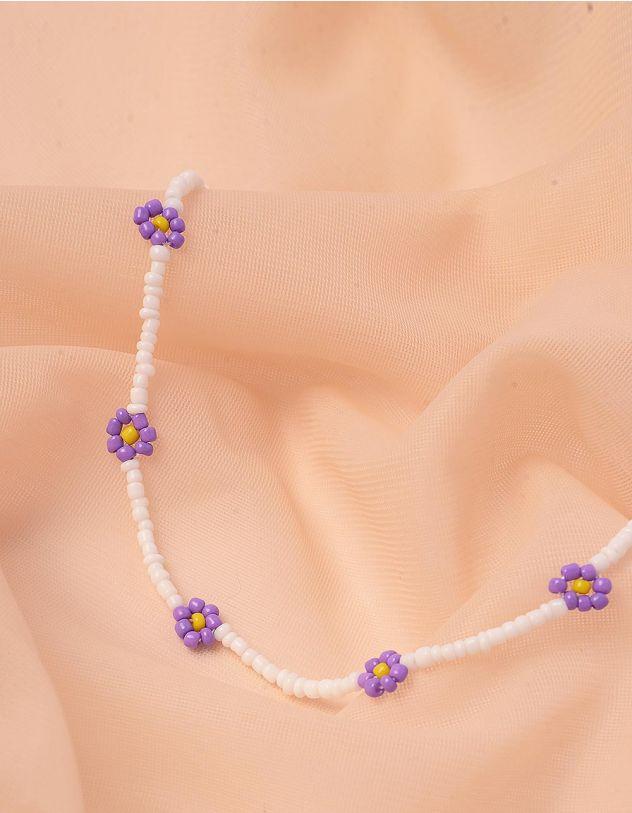 Чокер на шию з квітами із намистин | 243008-03-XX - A-SHOP