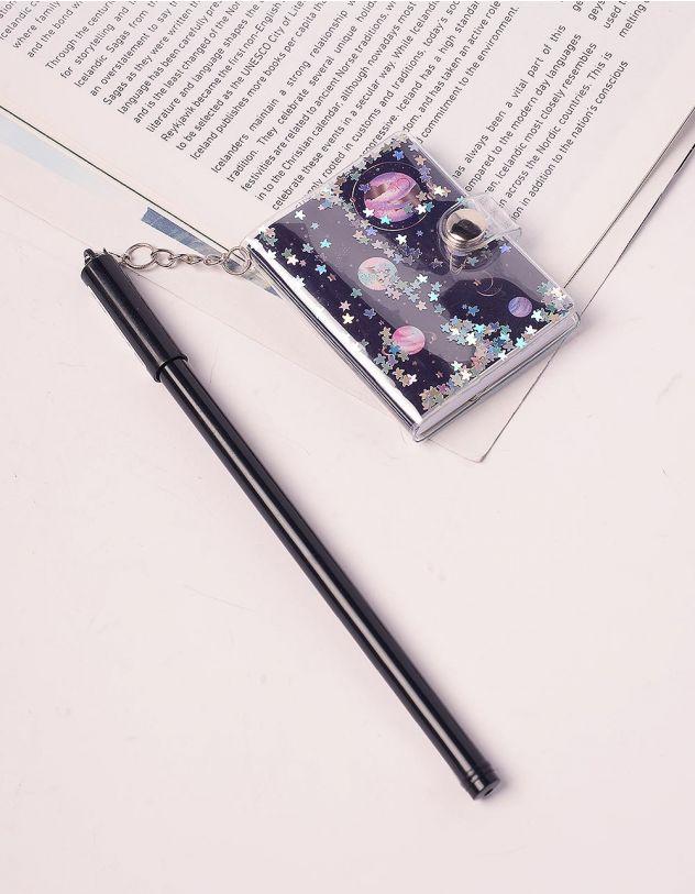 Ручка з блокнотом на ковпачку із космічним принтом | 239083-02-XX
