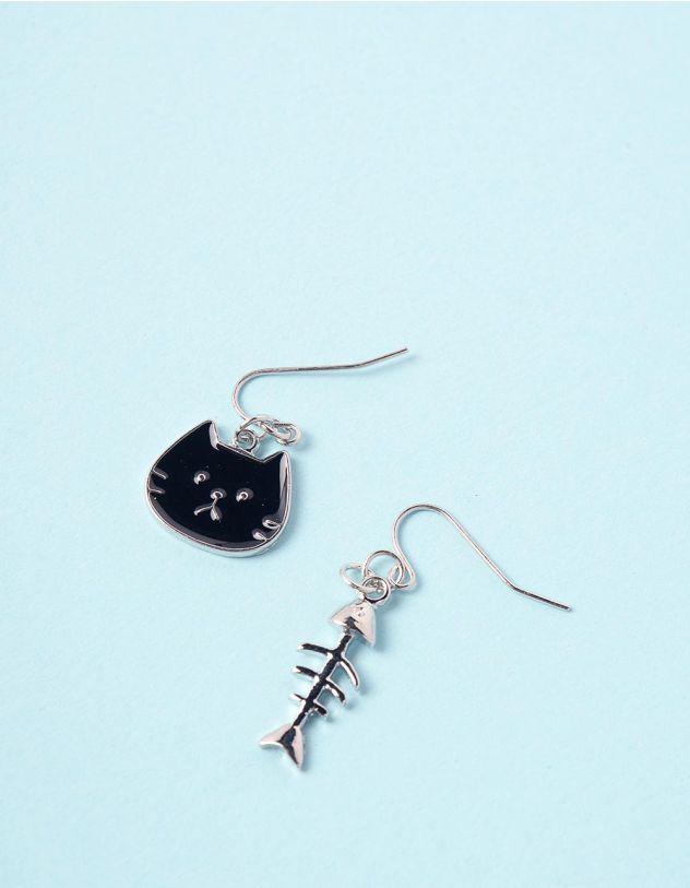 Сережки з підвісками у вигляді киці та скелета риби   246300-07-XX - A-SHOP