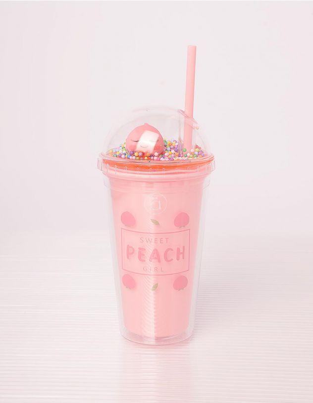 Склянка на 450мл з принтом персиків | 242420-14-XX - A-SHOP