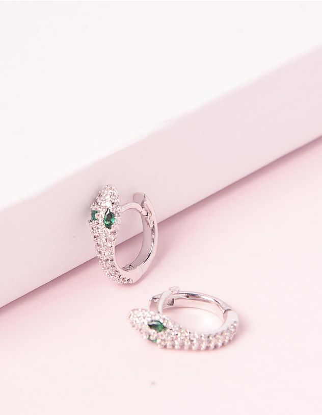 Сережки у вигляді змій з камінцями | 244994-06-XX - A-SHOP