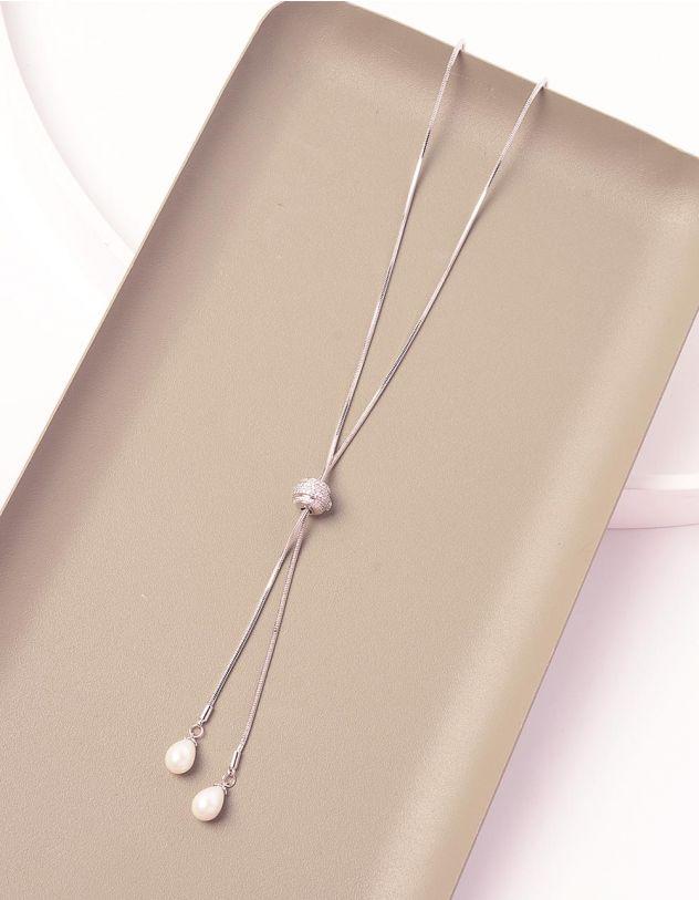 Підвіска довга з камінцями на кулі та перлинами | 239814-06-XX - A-SHOP
