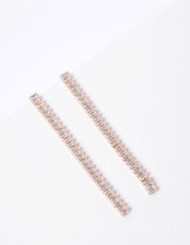 Сережки подовжені зі стразами | 250965-08-XX - A-SHOP