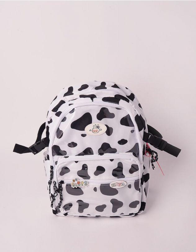 Рюкзак з принтом корівки та малюнком квітів на значку | 248988-01-XX - A-SHOP