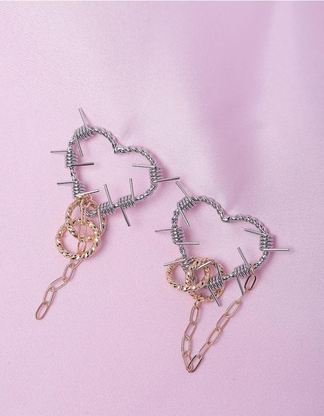 Сережки у вигляді сердець з ланцюжками | 249219-05-XX - A-SHOP