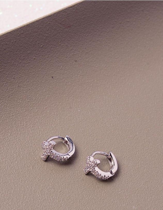 Сережки кільця маленькі хрести зі стразами   241192-06-XX - A-SHOP