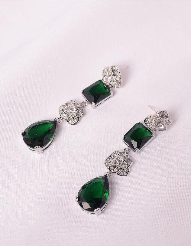 Сережки подовжені у вигляді квіток  інкрустовані камінням | 247681-62-XX - A-SHOP