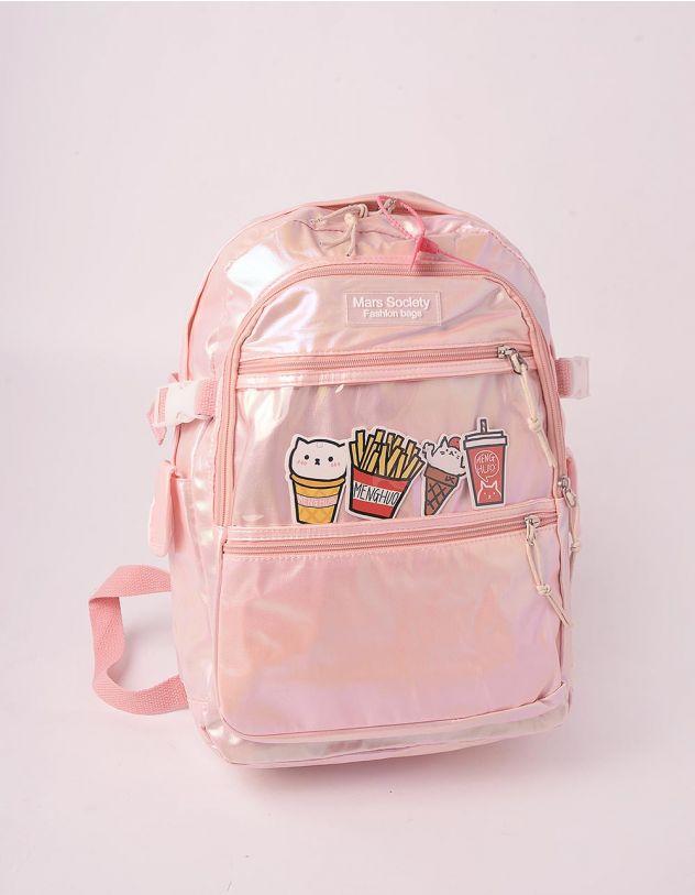 Рюкзак для міста голографічний із зображенням фаст фуду | 246022-14-XX - A-SHOP