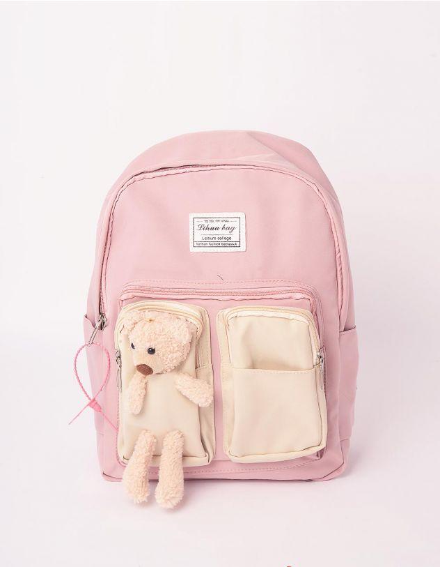 Рюкзак молодіжний з ведмедиком на кишені | 243058-14-XX - A-SHOP