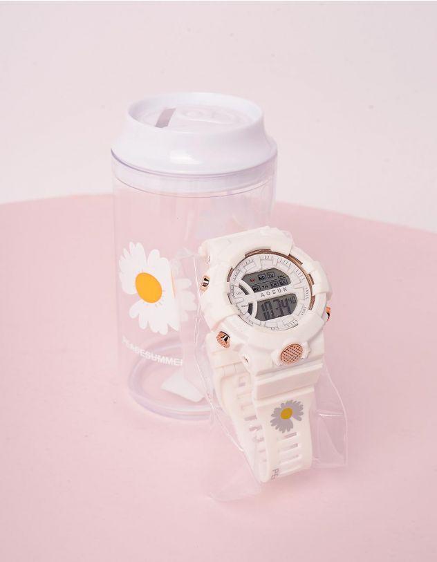 Годинник на руку з принтом ромашки у скарбничці | 243680-01-XX - A-SHOP