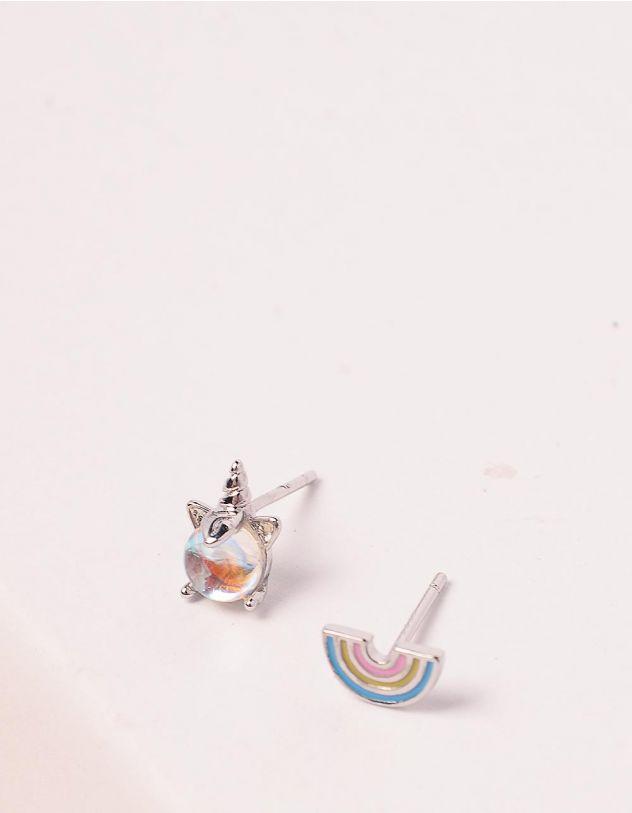 Сережки пусети з єдинорогом та веселкою   246346-06-XX - A-SHOP