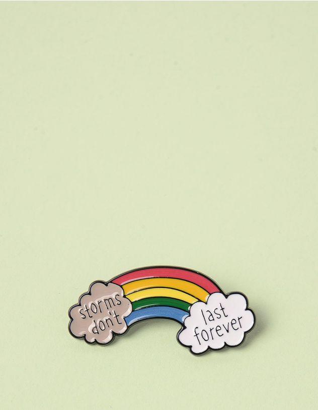 Брошкау вигляді веселки з написом на хмаринках | 245683-21-XX - A-SHOP