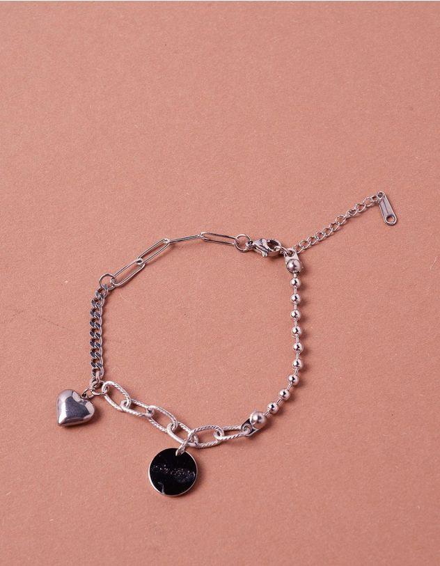 Браслет на руку із ланцюжків та намистин з кулоном у вигляді серця | 243513-05-XX - A-SHOP