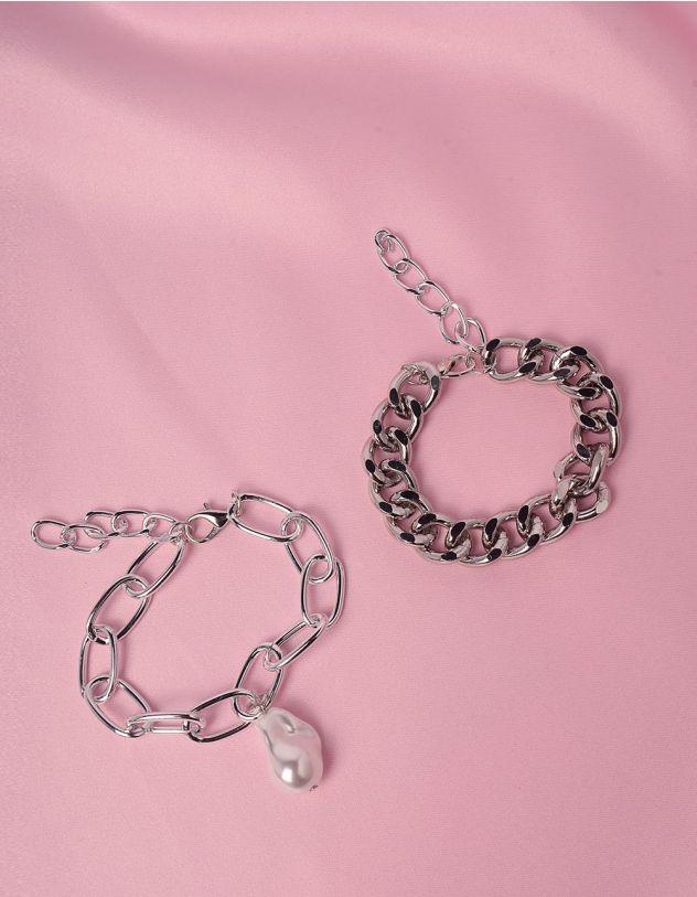 Браслет на руку подвійний  із ланцюжків з перлиною | 247288-05-XX - A-SHOP