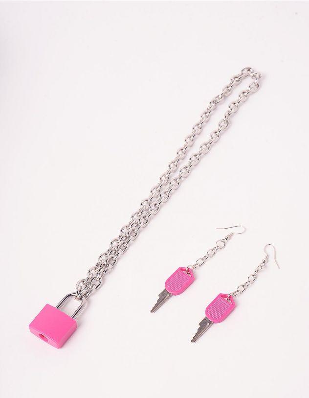 Комплект із підвіски та сережок із ланцюжків з кулонами у вигляді замка та ключів | 244244-17-XX - A-SHOP