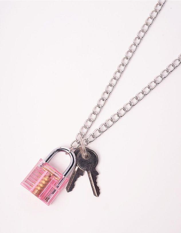 Підвіска на шию із ланцюжка з кулоном у вигляді замка та ключа   244072-70-XX - A-SHOP