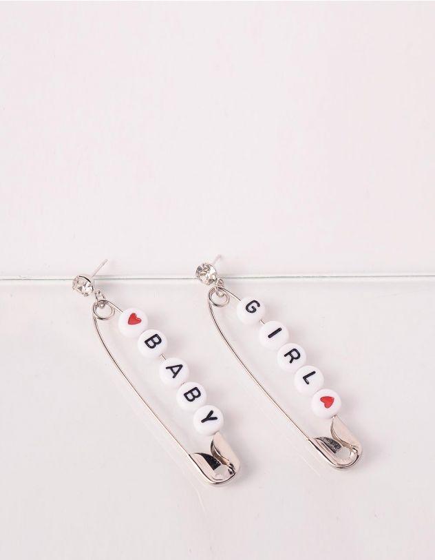 Сережки у вигляді булавок з написом на намистинах   245316-05-XX - A-SHOP