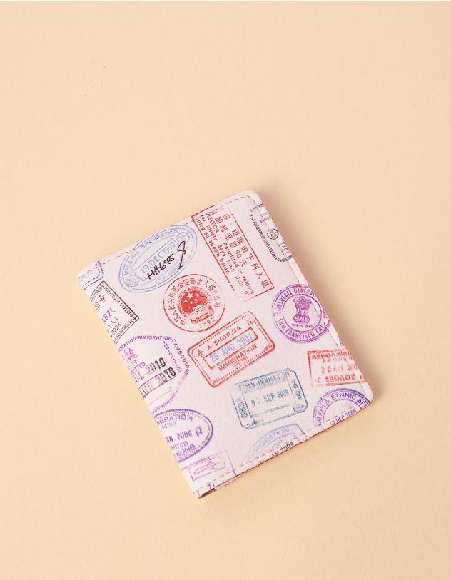 Обкладинка на паспорт картхолдер з принтом штампів | 241345-21-XX