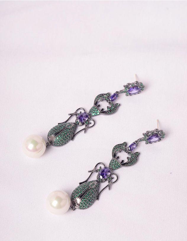Сережки подовжені з перлинами  інкрустовані камінням   247694-62-XX - A-SHOP